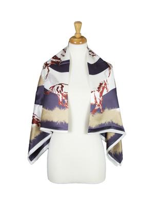 AamiraA Wild Horse Mulberry Satin Silk Stole Women Square Scarf