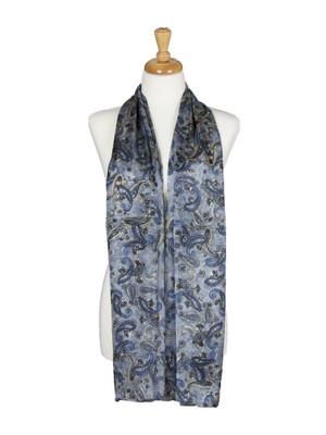 AamiraA Grey Flowers Mulberry Chiffon Silk Stole Women Oblong Scarf