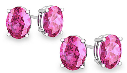 925 Sterling Silver Genuine Pink Sapphire Earrings