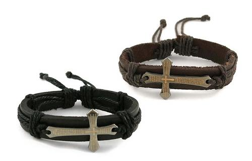 Christian Religious Cross Spanish Prayer Genuine Leather Strap Unisex Bracelet
