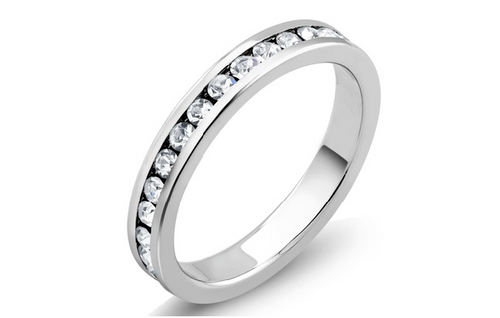 18K White Gold Plated 4 CTW Cubic Zirconia Eternity Women Ring