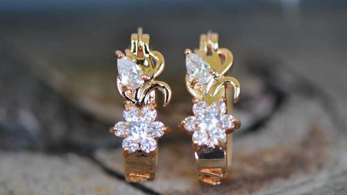 18K Gold White Flower Zircon AAA Designer Brass Earrings