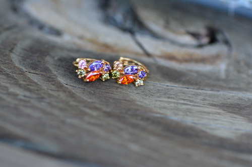 18K Gold Multicolor Zircon AAA Designer Brass Earrings