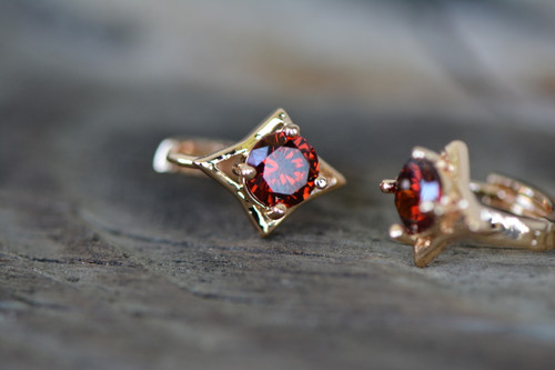 18K Gold Fashion Red Zircon AAA Round Brass Earrings