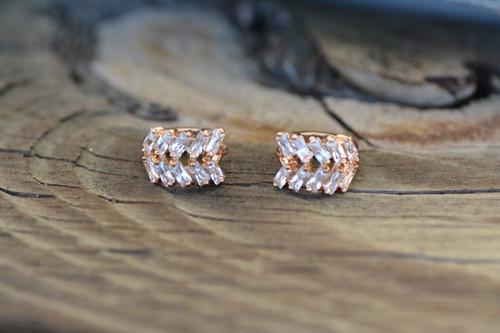 18K Gold Rectangular Zircon AAA Designer Brass Earrings