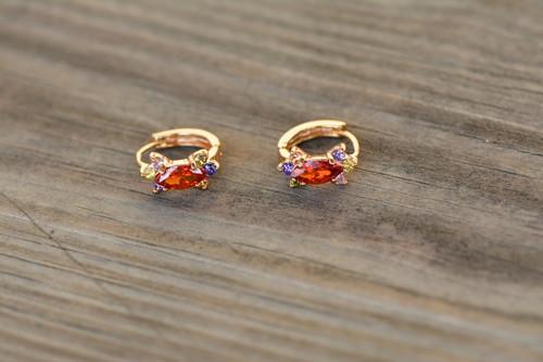 18K Gold Multi color Zircon AAA Designer Brass Earrings