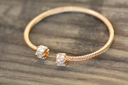 18K Gold Open Cuff Stylish Zircon AAA Designer Women Brass Bracelet