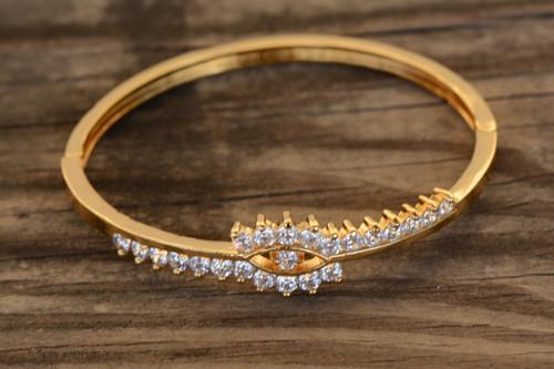18K Gold Elegant White Zircon AAA Designer Women Brass Bracelet