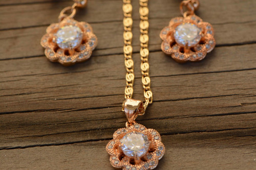 18K Gold White Flower Zircon AAA Designer Women Brass Set