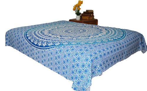 Blue Green Mandala Tapestry Ombre Wall Hanging Throw Dorm Decor