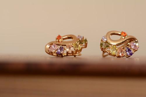 18K Gold Peacock Zircon AAA Designer Brass Earrings