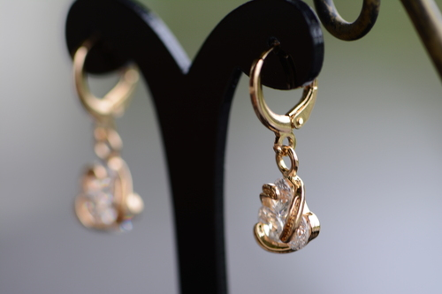 18K Gold Trio Zircon AAA Designer Dangle Brass Earrings