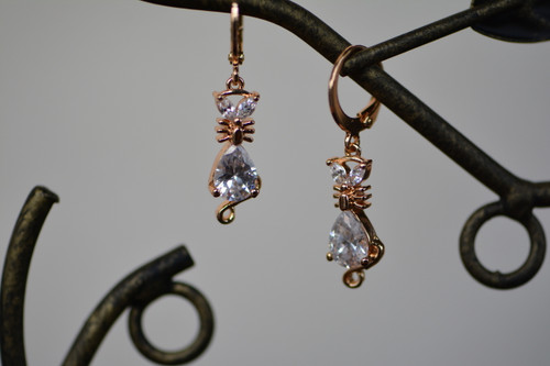 18K Gold Cat Zircon AAA Designer Dangle Brass Earrings