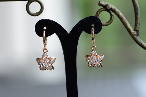 18K Gold Starfish Zircon AAA Designer Dangle Brass Earrings