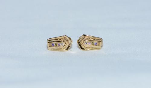 18K Gold Trio Zircon AAA Designer Brass Earrings