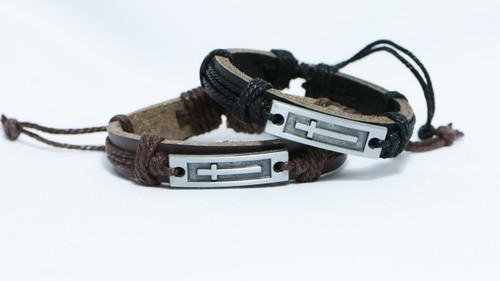 AamiraA Jesus Christian Religious Prayer Cross shape Genuine Leather Bracelets