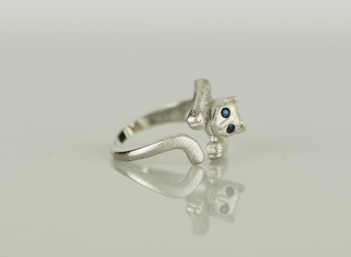 925 Sterling Silver Blue Crystal Rhinestone Cute Cat Resizable Ring