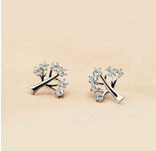 925 Sterling Silver Trendy Life Tree Zircon Crystal Earrings