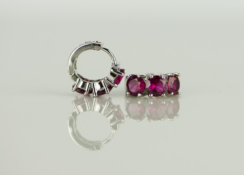 925 Sterling Silver Red Ruby Brass Earrings