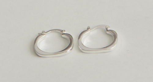 925 Sterling Silver Plated Trendy Flat Square Round Earrings