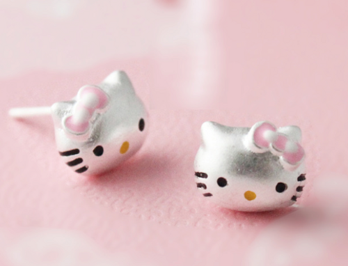 925 Sterling Silver Cute Kitty Pink Bow Earrings