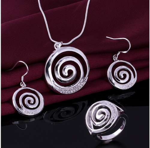 925 Sterling Silver Plated Sprial Designer Women Brass Set