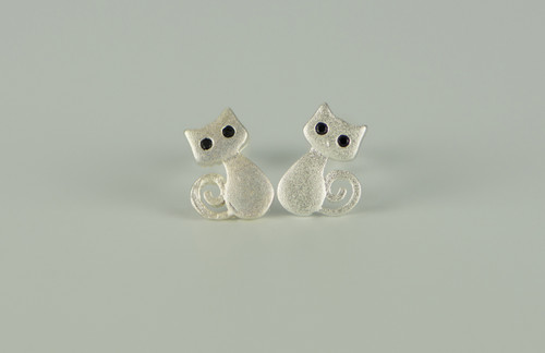 925 Sterling Silver Cute Smily Cat Earrings