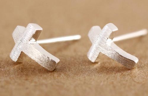Sterling Silver Curved Cross Shaped Stud Earrings