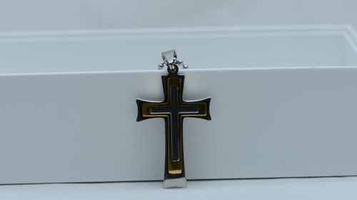 Stainless Steel Gold Silver Cross Pendant Ball Unisex Necklace Chain