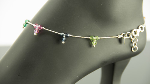 925 Sterling Silver Trio Multicolor Bead 11.5 inch Solid Anklet Women Bracelet