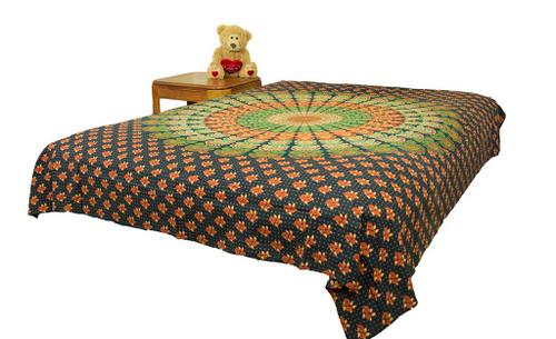 Hippie Orange Black Mandala Tapestry Bohemian Wall Hanging Throw Dorm Decor