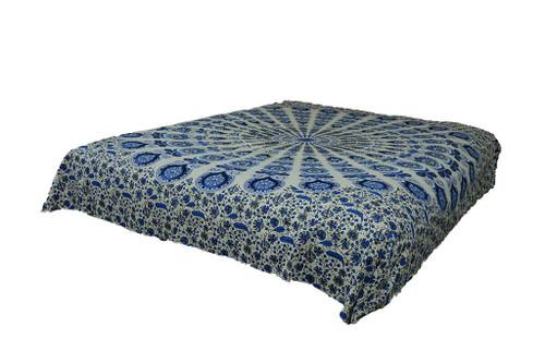 King Hippie Blue Grey Mandala Tapestry Bohemia Wall Hanging Throw Dorm Decor