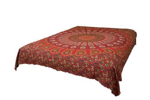 Hippie Orange Red Mandala Tapestry Bohemian Wall Hangng Throw Dorm Decor