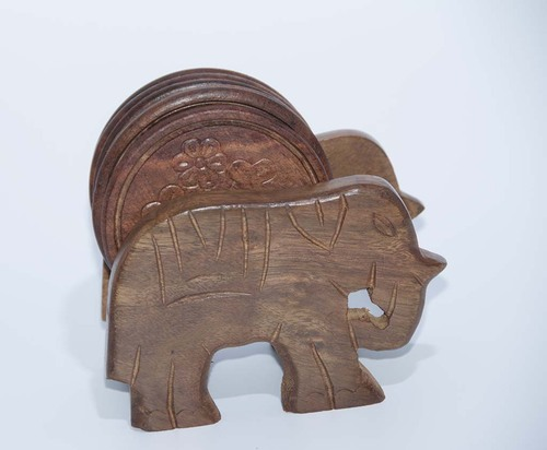 Handcrafted  Wooden Round Coasters With Elephant Cart Holder (6 - Pack)