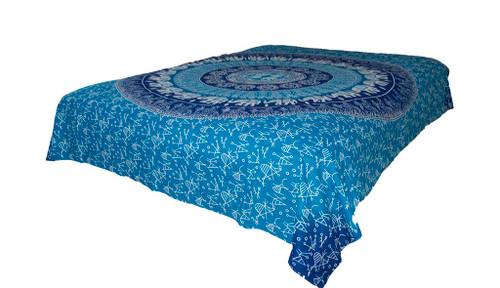 Hippie Dark Blue White Mandala Tapestry Bohemian Wall Hanging Throw Dorm Decor