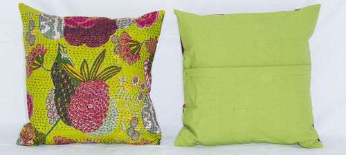 Handmade Green Kantha Threaded Pillow Cushion Covers