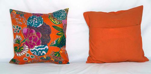 Handmade Orange Kantha Threaded Pillow Cushion Covers