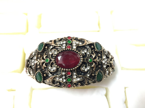 Antique Gold Designer Oval Rhinestone Vintage Bracelet
