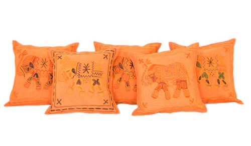 Exotic Kantha Embroidery Elephant Orange Cushion Covers Decorative Pillow Case