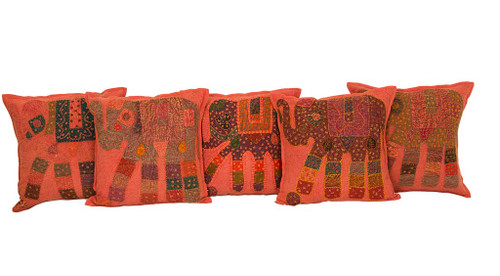 Kantha Patchwork Elephant Orange Cushion Covers Decorative Pillow Case