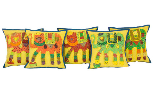 Kantha Patchwork Elephant Yellow Blue Cushion Covers Decorative Pillow Case