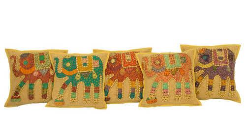 Kantha Patchwork Elephant Mustard Cushion Covers Decorative Pillow Case