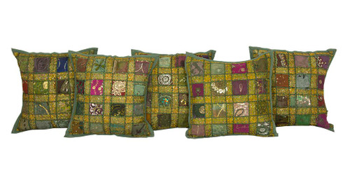 Kantha Sequence Patchwork Grey Cushion Covers Decorative Pillow Case
