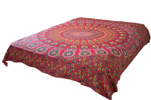 Hippie Red Psychedelic Mandala Tapestry Bohemian Wall Hanging Dorm Decor