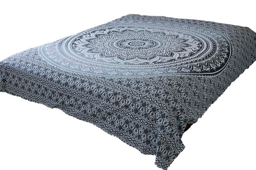 Hippie Gray Ombre Mandala Tapestry Bohemian Wall Hanging Dorm Decor