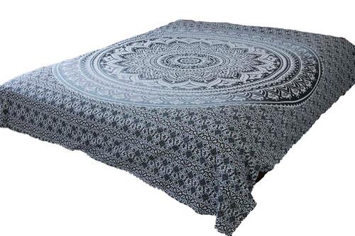 Hippie Gray Ombre Mandala Tapestry Bohemian Wall Hanging Dorm Decor