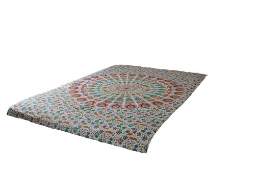White Psychedelic Mandala Tapestry Bohemian Wall Hanging Throw Dorm Decor
