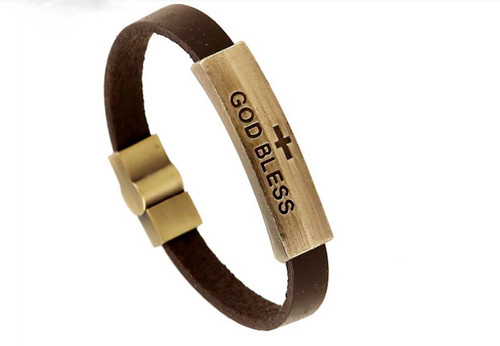 "Christian Religious ""God Bless"" Jesus Genuine Leather Strap Unisex Bracelet"