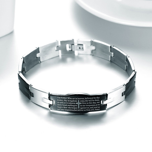 Christian Religious English Prayer Jesus Black Stainless Steel Unisex Bracelet