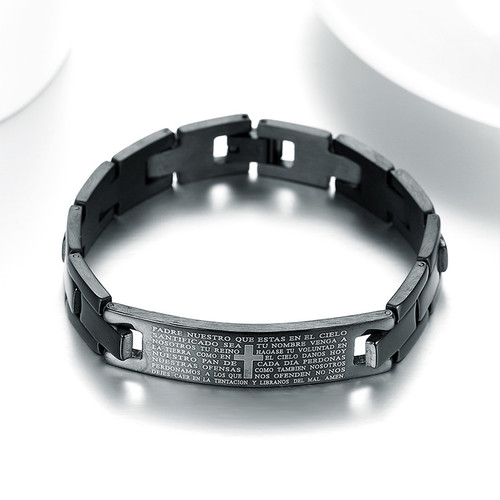 Christian Religious Spanish Prayer Jesus Black Stainless Steel Unisex Bracelet